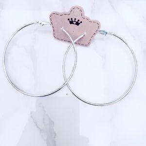 Large Silver Tone Earrings